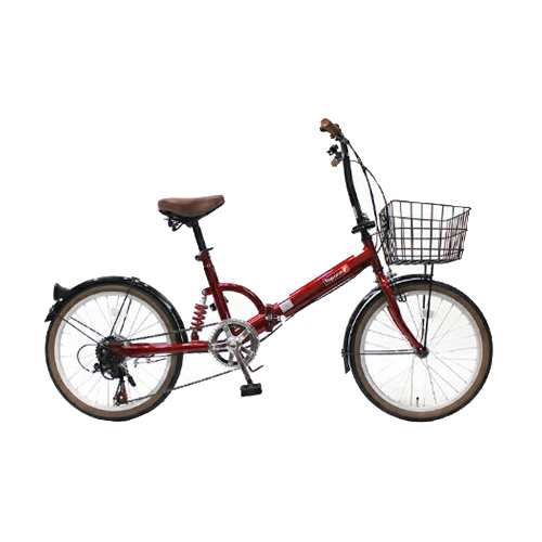TOP ONE(トップワン):20インチ折畳み自転車 シマノ外装6段ギア・リアサスペンション・前カゴ・カギ・ライト付 レッド FS206LL-37-RD