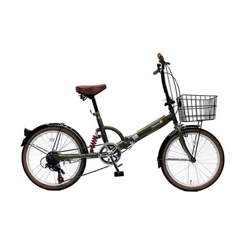 【代引不可】TOP ONE(トップワン):20インチ折畳み自転車 シマノ外装6段ギア・リアサスペンション・前カゴ・カギ・ライト付 オリーブ FS206LL-37-OL