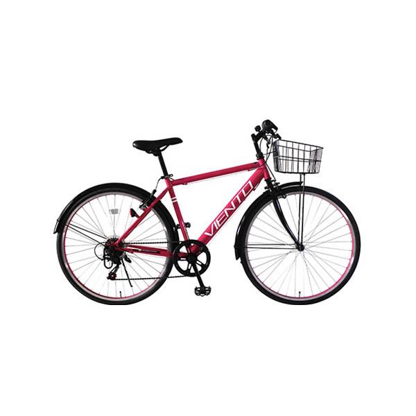 【後払い不可】【代引不可】【法人限定】TOP ONE(トップワン):26インチシティクロスバイク シマノ外装6段ギア・前カゴ・泥除け付 ピンク T-MCA266-43-PI