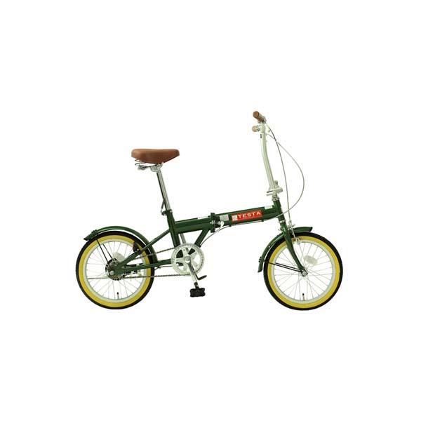 【代引不可】TOP ONE(トップワン):16インチ折畳み自転車 モスグリーン FL160-46-MG