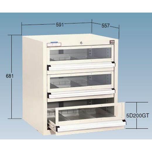 【代引不可】OS(大阪製罐):ライトキャビネット(アクリル窓付タイプ) 軽量型(5型) 3段 ライトグレー 5-603GT