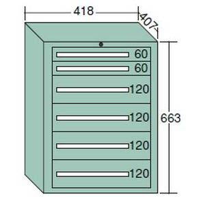 【代引不可】OS(大阪製罐):ミゼットキャビネット 6段 ライトグレー M10-1G