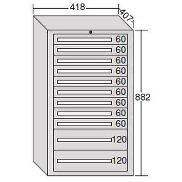 【代引不可】OS(大阪製罐):ミゼットキャビネット 11段 ライトグレー M12-4G