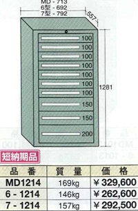 OS(大阪製罐):スタンダードキャビネット 10段 6-1214