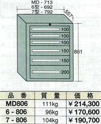 【代引不可】OS(大阪製罐):スタンダードキャビネット 6段 6-806
