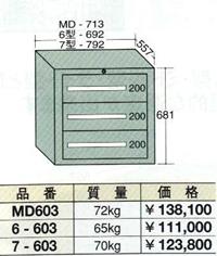 【代引不可】OS(大阪製罐):スタンダードキャビネット 3段 7-603