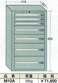【代引不可】OS(大阪製罐):ミゼットキャビネット別組 7段 M12A