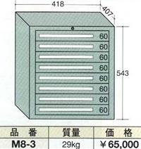 OS(大阪製罐):ミゼットキャビネット 8段 M8-3