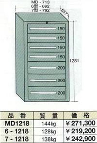 OS(大阪製罐):ミドルキャビネット 7段 MD1218