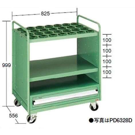 OS(大阪製罐):ツーリングパネルワゴン(引出し付タイプ) (HSK・NC5用) PD6328D