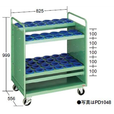 【代引不可】OS(大阪製罐):ツーリングパネルワゴン(引出し無タイプ) (HSK・NC5用) PD6356