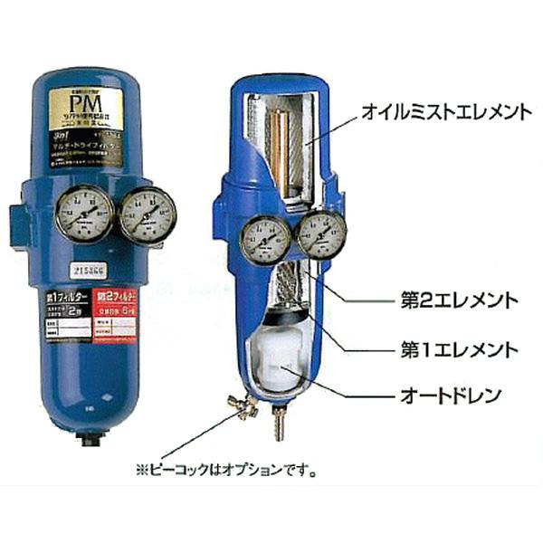 前田シェルサービス:圧縮空気用 3in1マルチ・ドライフィルター 接続口径1/2 T-107A-1000