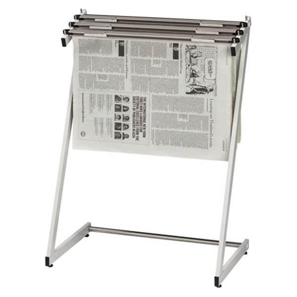 クラウン:新聞架 スチール製 3本タイプ 1台 ホワイトグレー CR-SN130-W 23209
