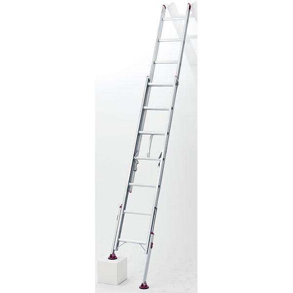 長谷川工業:アルミ脚部伸縮式 2連梯子 ノビ型 LSK2 1.0-74