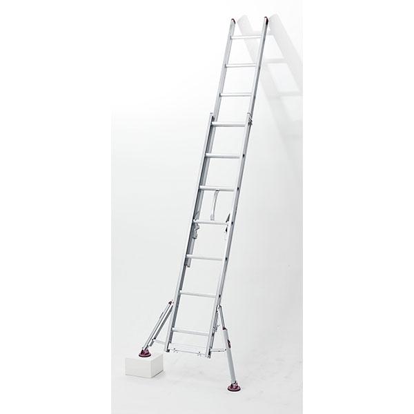 長谷川工業:アルミ脚部伸縮式 2連梯子 ハチ型 LSS2 1.0-54