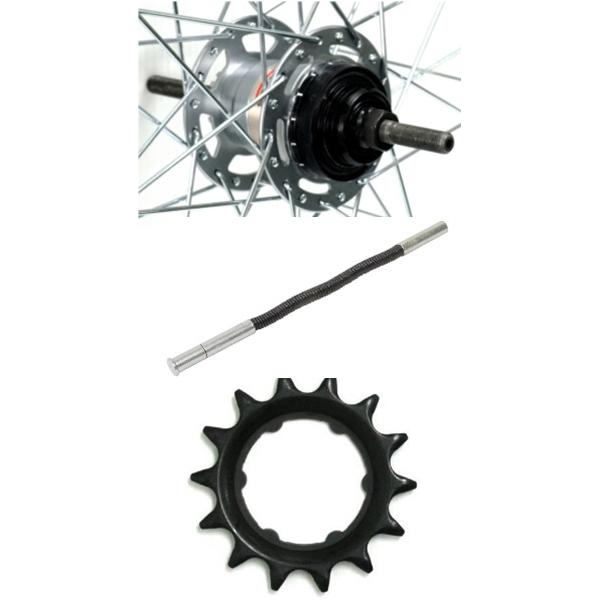 アサヒサイクル:アルミリム後輪 内装3段ローラーブレーキ仕様 タイヤチューブ無 26x1-3/8 (14Tギヤ+プッシュロッド付) HLQ-08