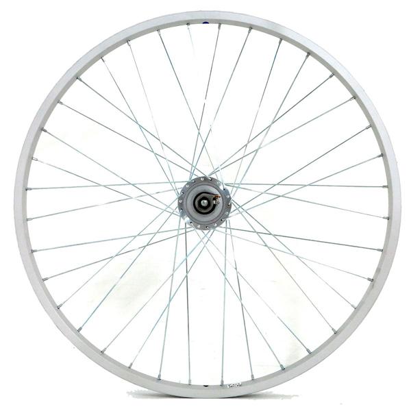 アサヒサイクル:アルミリム前輪 ハブダイナモ LEDライト付 タイヤチューブ無 26x1.50 シマノLEDライト HLQ-10A