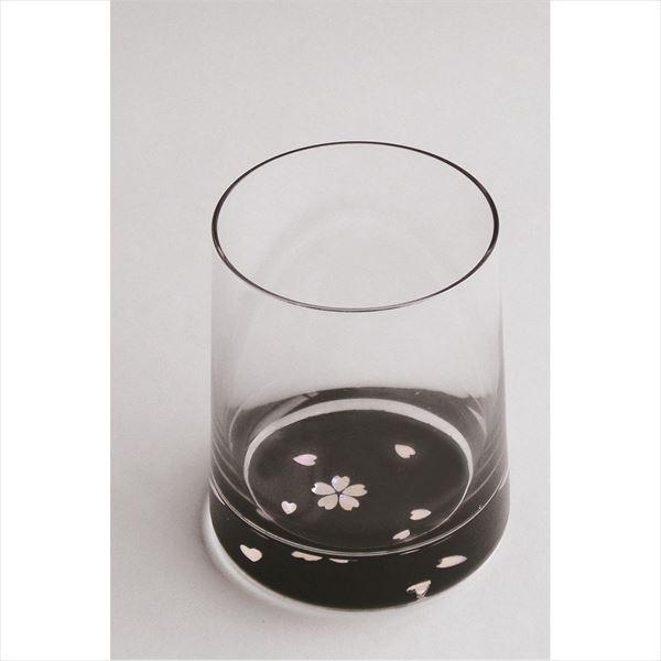 天野漆器:グラス 桜(貝入) 黒