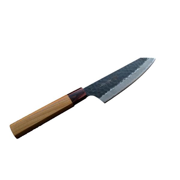 青木刃物製作所:160m/m 剣型三徳 青紙スーパー 黒槌目 100789