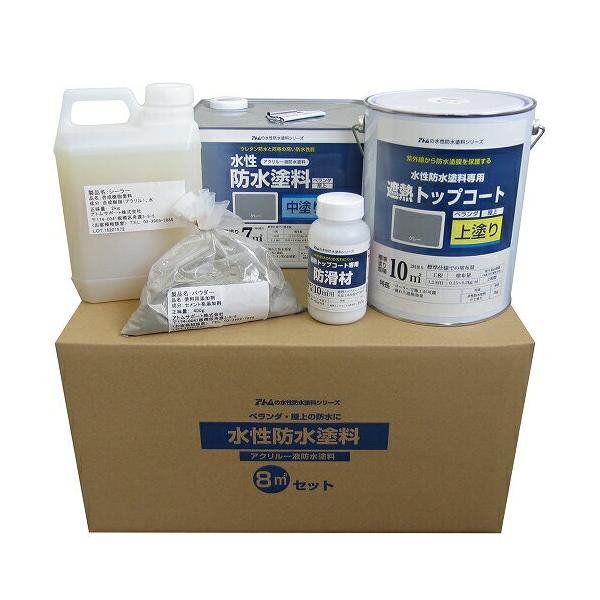 アトムハウスペイント:水性防水塗料8m2セット コンクリート下地用(中塗りグレー/上塗りグレー)