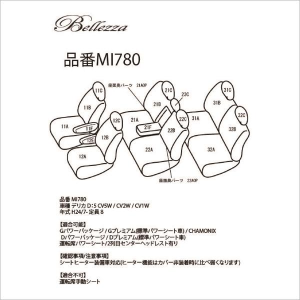 BELLEZZA(ベレッツァ):Wild Stitch ワイルドステッチ シートカバー (ワインレッド×WH) CV5W/CV2W/CV1W デリカD:5 BEWSMI780WR3