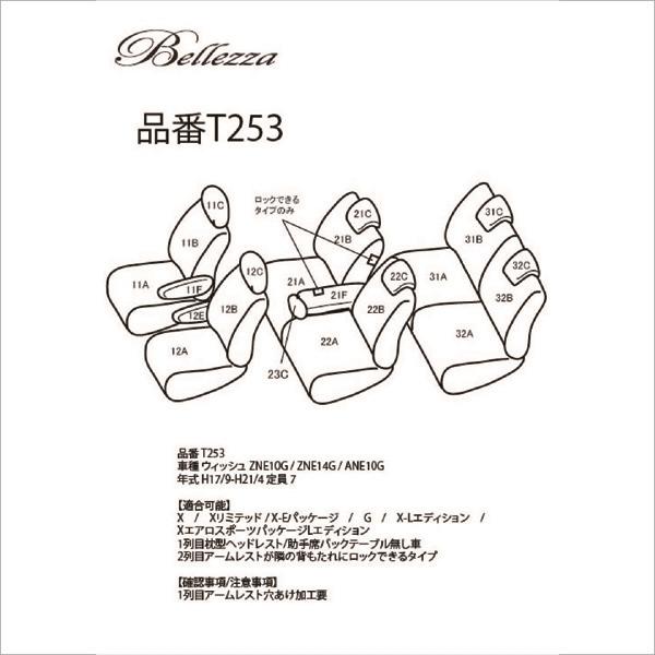 BELLEZZA(ベレッツァ):Wild Stitch ワイルドステッチ シートカバー (レッド×WH) ZNE10G/ZNE14G/ANE10G ウィッシュ 7人 BEWST253R3