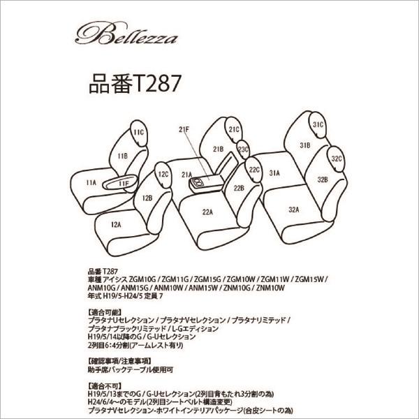 BELLEZZA(ベレッツァ):Wild Stitch ワイルドステッチ シートカバー (ココア×WH) 10系 アイシス 7人 BEWST287C3