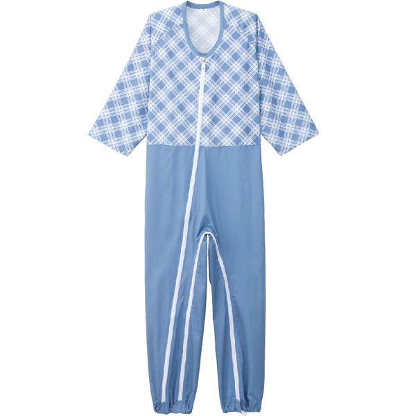 ケアファッション:介護用フルオープンつなぎパジャマ ブルー M 38728-01