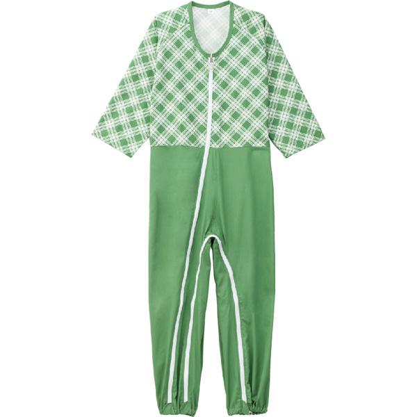 ケアファッション:介護用フルオープンつなぎパジャマ グリーン L 38728-22