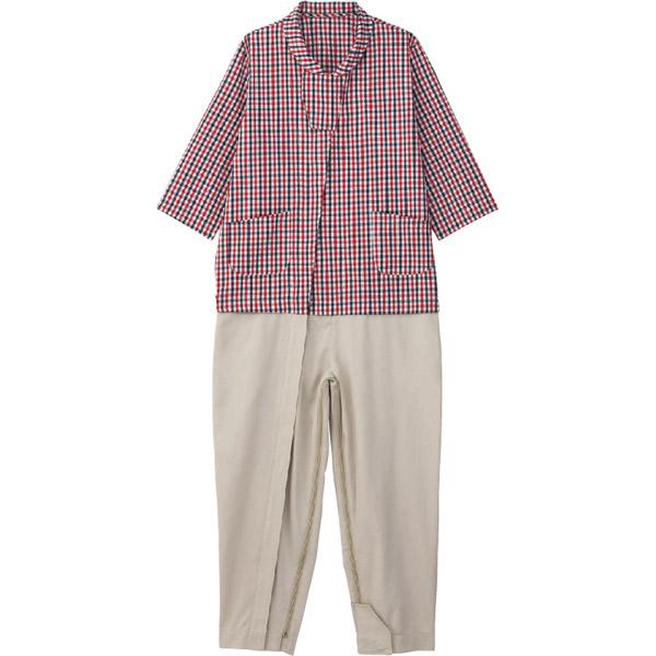 ケアファッション:介護用フルオープンつなぎパジャマ レッド L 38808-22