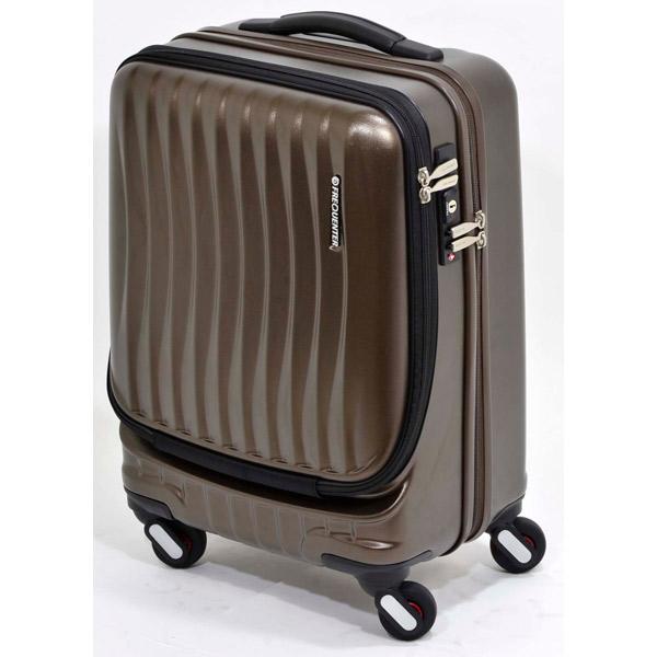 エンドー鞄:FREQUENTER CLAM A ストッパー付き4輪キャリー(前開き) 46cm チョコ 1-216 チョコ