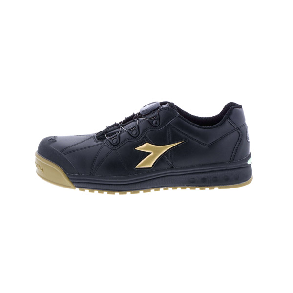 DONKEL(ドンケル):ディアドラ フィンチ ブラック/ゴールド/ブラック FC292 26.0cm 作業靴 工場 現場 業務用 紐なし ワイヤー おしゃれ メンズ
