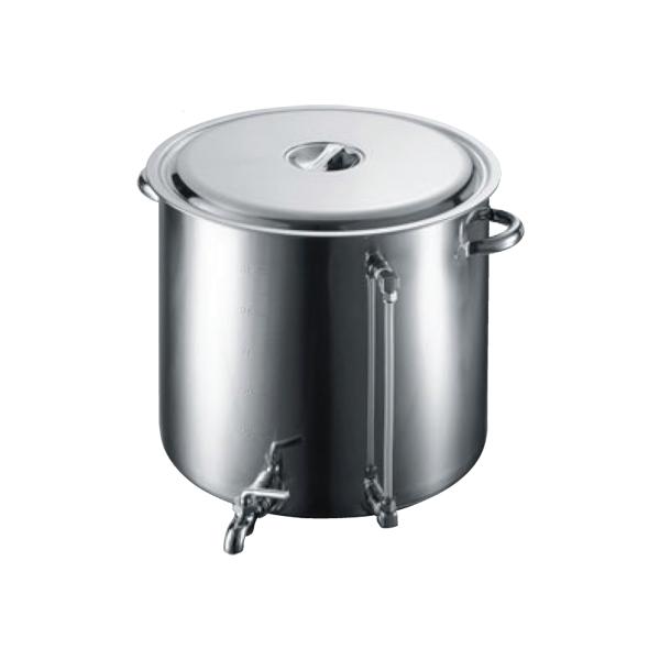 【代引不可】【受注生産品】EBM:18-8 蛇口付 スープ寸胴鍋(水量計付) 80型 3584300