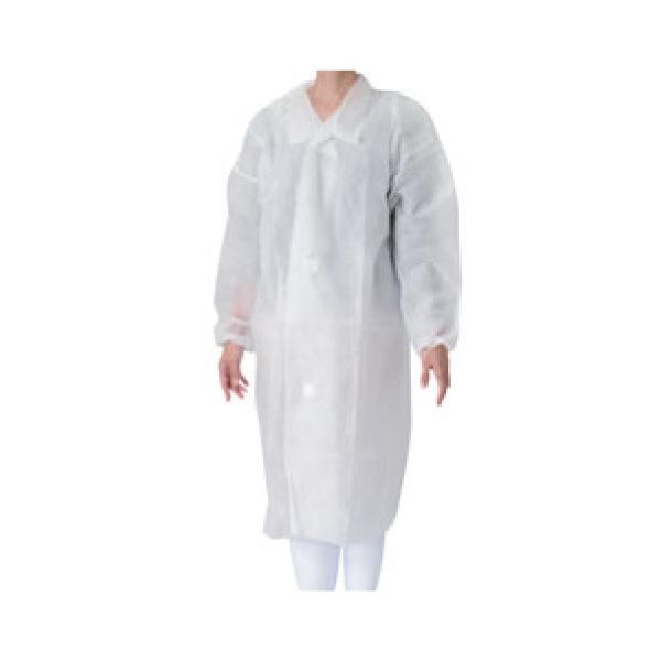 不織布 白衣 (50枚入) マジックテープ付 白 L 7463520