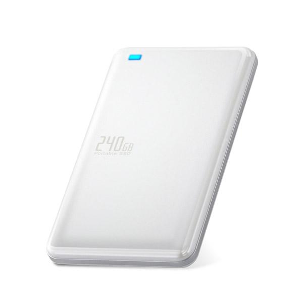 エレコム:外付けSSD ポータブル USB3.1(Gen1)対応 240GB ホワイト ESD-ED0240GWH