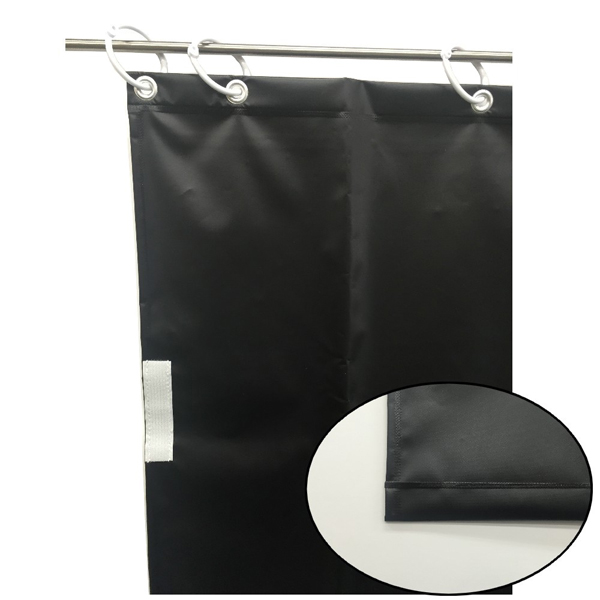 ユタカメイク:オーダー簡易間仕切りカラーターポリン ブラック 厚み0.25mm×幅180cm×高さ450cm