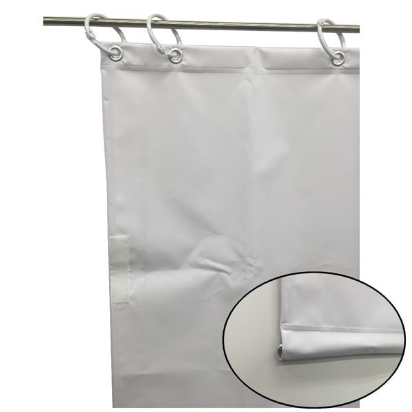 ユタカメイク:オーダー簡易間仕切りカラーターポリン ホワイト 裾チェイン入り 厚み0.25mm×幅380cm×高さ105cm