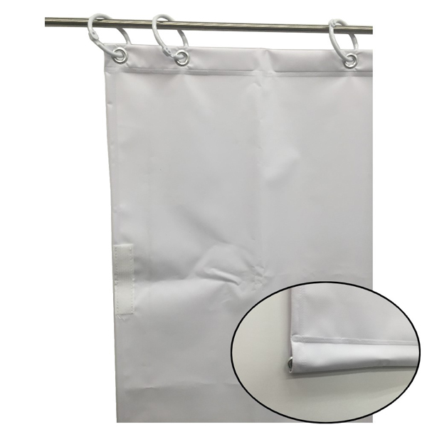 ユタカメイク:オーダー簡易間仕切りカラーターポリン ホワイト 裾チェイン入り 厚み0.25mm×幅340cm×高さ245cm