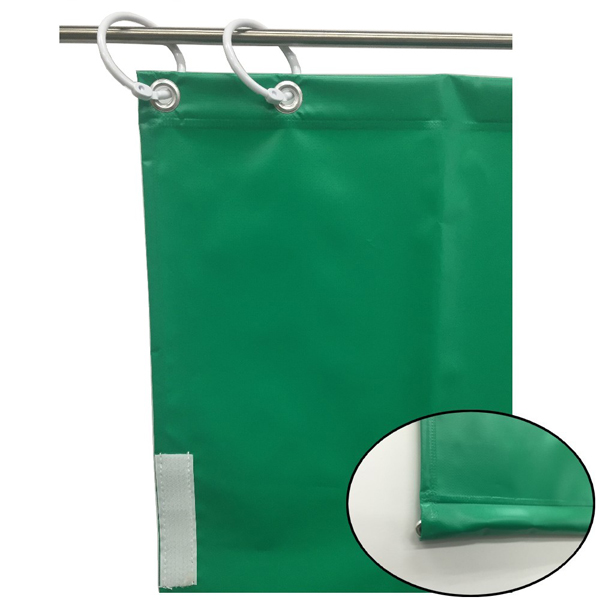 ユタカメイク:オーダー簡易間仕切りカラーターポリン グリーン 裾チェイン入り 厚み0.25mm×幅80cm×高さ390cm