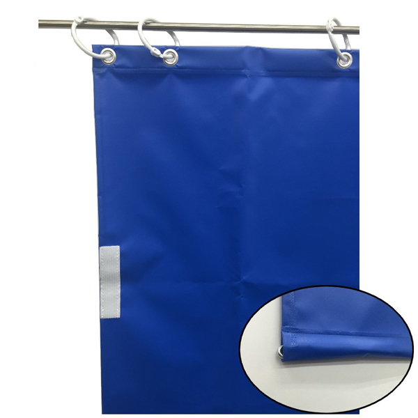 ユタカメイク:オーダー簡易間仕切りカラーターポリン ブルー 裾チェイン入り 厚み0.25mm×幅340cm×高さ375cm