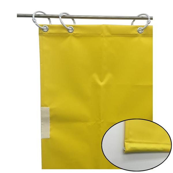 ユタカメイク:オーダー簡易間仕切りカラーターポリン イエロー 裾チェイン入り 厚み0.25mm×幅500cm×高さ260cm