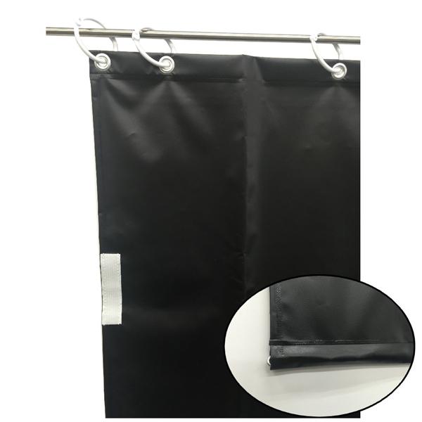 【代引不可】ユタカメイク:オーダー簡易間仕切りカラーターポリン ブラック 裾チェイン入り 厚み0.25mm×幅120cm×高さ195cm