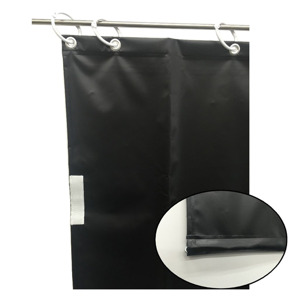 ユタカメイク:オーダー簡易間仕切りカラーターポリン ブラック 裾チェイン入り 厚み0.25mm×幅280cm×高さ495cm