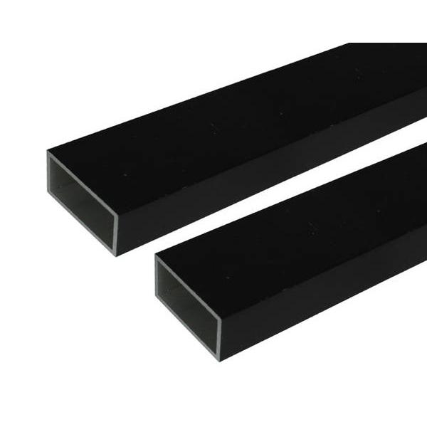 【代引不可】安田:アルミ角パイプ 2m 2.0x30x60mm ブラック 2本組
