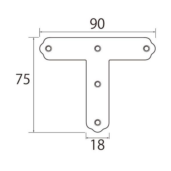 福井金属工芸:ステンレスT型金具90mm 30個入 6286