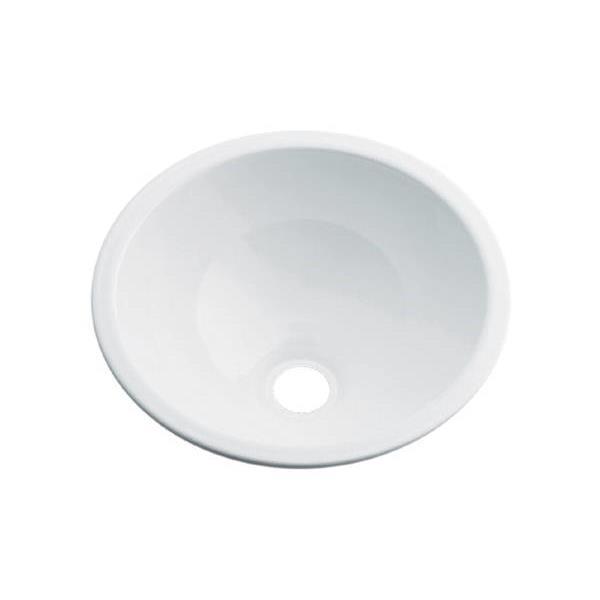 カクダイ:丸型手洗器ホワイト 493-026-W