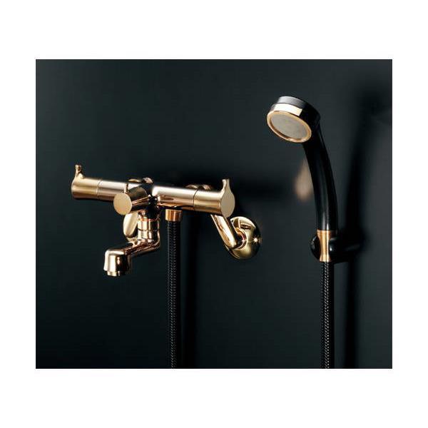 カクダイ:2ハンドルシャワ混合栓(一時止水)ゴールド 139-021