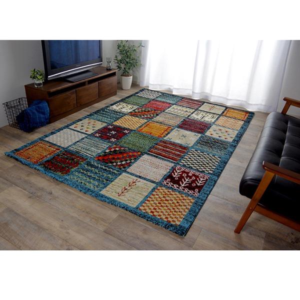 イケヒコ・コーポレーション:トルコ製 ウィルトン織カーペット ギャッペ調ラグ ブルー 約200×250cm 2349659