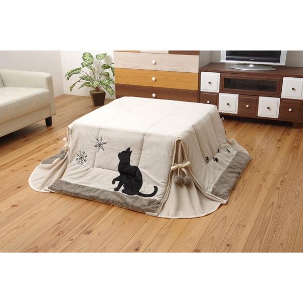 イケヒコ・コーポレーション:こたつ布団 正方形 洗える 猫柄 ネコ柄 ねこ柄 省スペース 掛け単品 『シャルル省S』 ベージュ 約175×175cm パーソナル 5882509