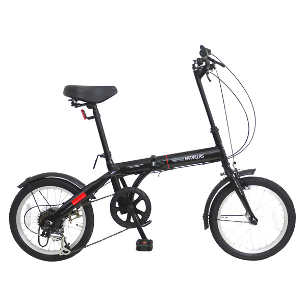 【代引不可】MYPALLAS(マイパラス):折畳自転車16インチ・6段ギア ブラック M-103 BK